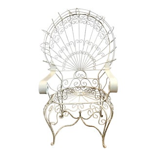 Vintage Mid Century White Wrought Iron Peacock Chair For Sale