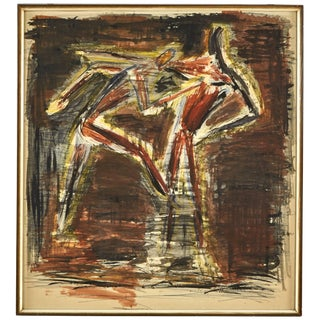 Abstract Watercolor Painting of Dancers From Germany Circa 1940 For Sale