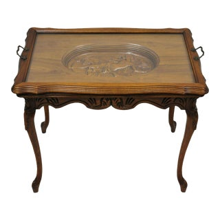 Antique French Louis XV Style Small Walnut Glass Tray Top Figural Coffee Table For Sale