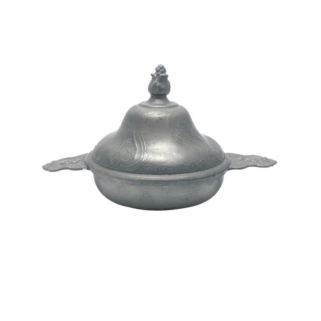 19th Century Continental Pewter Porringer and Cover For Sale