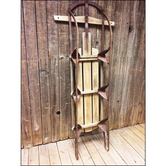 Metal Vintage Brown Weathered Wood & Metal Runner Sled For Sale - Image 7 of 11