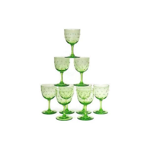 Cottage Antique Victorian Uranium Wine Stems W/ Stars - Set of 9 For Sale - Image 3 of 3