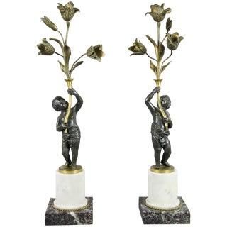 Pair of Louis Philippe Bronze and Marble Candelabra For Sale