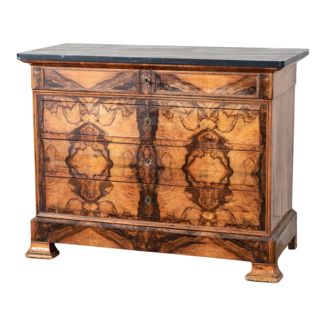 Antique Marble Topped Veneer Chest For Sale