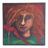 Image of Contemporary Expressionist Redhead Woman Signed Portrait Painting For Sale