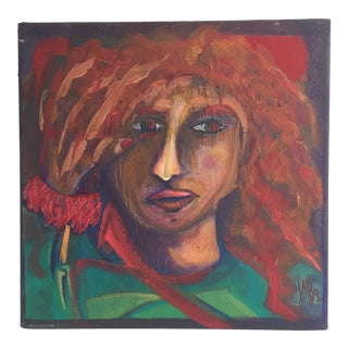 Contemporary Expressionist Redhead Woman Signed Portrait Painting For Sale