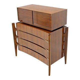 William Hinn 2 Pieces Swedish Modern Chest on Chest Dresser Gentleman Chest For Sale