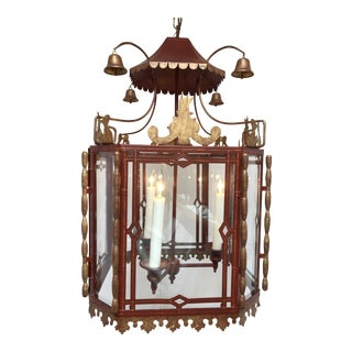 Vintage Chinoiserie Lantern Pendant For Sale