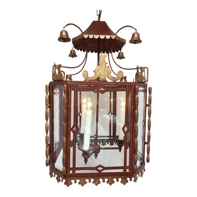 Vintage Chinoiserie Lantern Pendant For Sale