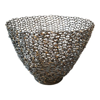 Sculptural Chainlink Bowl/Basket For Sale
