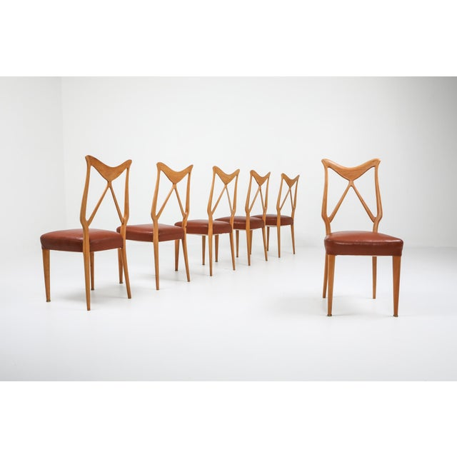 Oak & Leather Dining Chairs in the style of Gio Ponti. We have a matching table available. Made in Italy, ca 1970s.