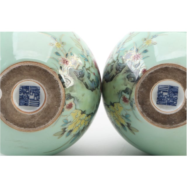 Chinese Celadon Porcelain Double Gourd Vases With Hànzì and Floral Motif - a Pair For Sale - Image 10 of 13