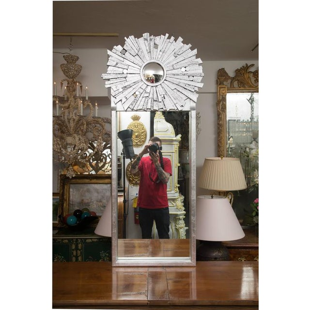 Glass Pair of Contemporary Silvered Sunburst Mirror For Sale - Image 7 of 8