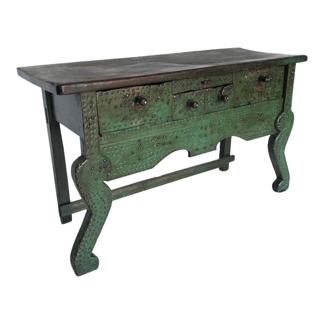 Antique Painted Guatemalan Nahuala Lion's Leg Folk Art Table With Five Drawers For Sale
