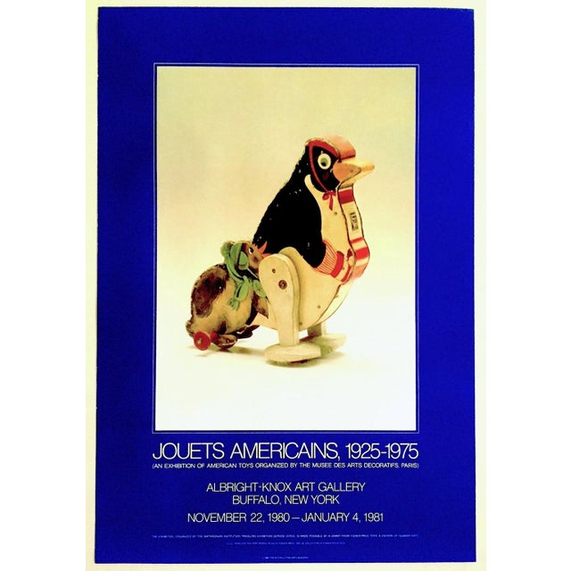 """"""" Jouets Americains 1925 - 1975 """" Rare 1980 Lithograph Print Vintage Toys Museum Exhibition Poster For Sale - Image 11 of 11"""