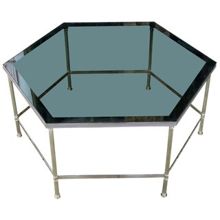 1970s Hexagonal Brass Coffee Table With Grey Glass For Sale