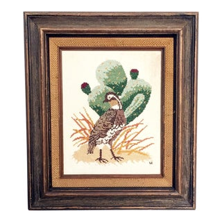 Vintage Framed Bird & Cactus Cross Stitch Wall Hanging