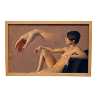 """""""Hand Study With Figure"""" Contemporary Oil Painting, Framed For Sale"""