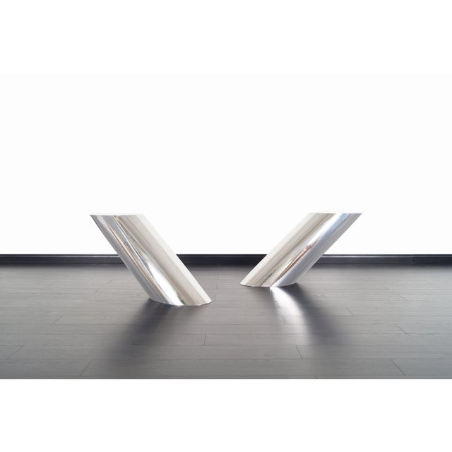 """Metal Brueton Polished Steel """"Zephyr"""" Table by J. Wade Beam - a Pair For Sale - Image 7 of 13"""