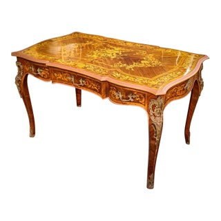 1950s French Louis XV Style Writing Desk (Bureau Plat) With Beautiful Floral Marquetry Top For Sale
