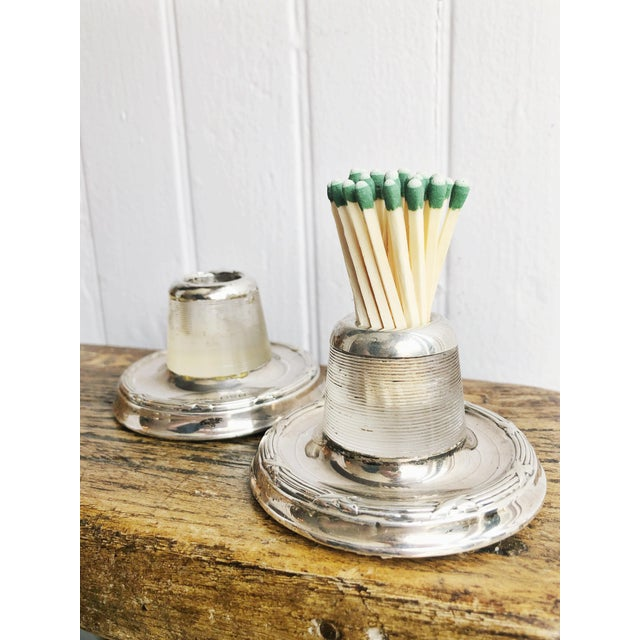 Antique English Sterling Silver and Glass Match Strikers - a Pair For Sale - Image 4 of 10