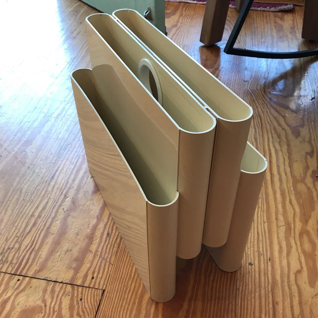 """Vintage mod 1972 Giotto Stoppino """"Portariviste"""" magazine rack for Kartell, Italy. Constructed of ABS plastic with 4 slots..."""