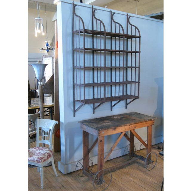 Wrought Iron Wall-Hanging Shelving Rack For Sale - Image 4 of 7
