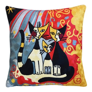 "Silk Crewel Cat & Floral Rosina Wachtmeister Abstract Feather/Down Pillow 18"" Square For Sale"