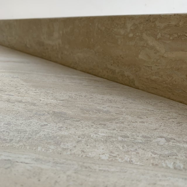 Travertine Triangular Coffee Tables-A Pair For Sale In Los Angeles - Image 6 of 13