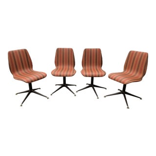 Vintage Mid Century Howell Acme Striped Vinyl Chairs- Set of 4 For Sale
