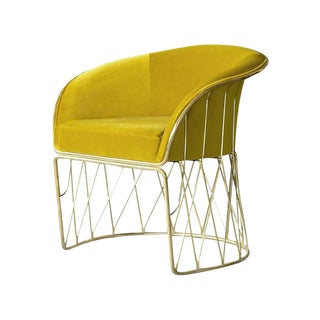 Equipal Velvet and Brass Chair by Atra For Sale