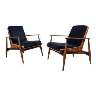 Pair of Lawrence Peabody Wicker Lounge Chairs 1960's