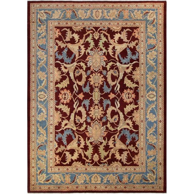 """Kafkaz Peshawar Antoinet Red & Blue Wool Rug - 10'3"""" x 14' For Sale"""