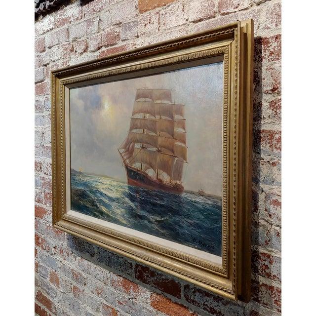 "Blue Daniel Sherrin the Elder ""Clipper Ship"" Seascape Oil Painting, 19th Century For Sale - Image 8 of 10"
