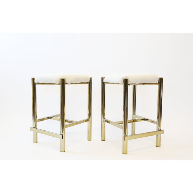 Vintage Cal-Syle Brass Bar Stools - A Pair - Image 5 of 7