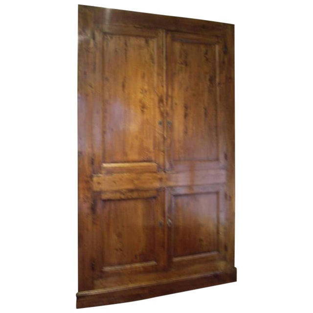Beautiful restored fruitwood cabinet front of built in cabinet. Two doors upper and two doors lower. Circa 1850.