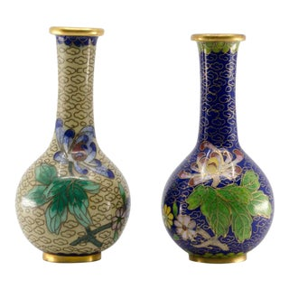 Chinese Miniature Cloisonné Bud Vases - a Pair For Sale