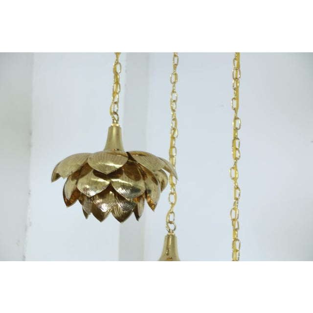 "1960s Brass ""Lotus"" 3 Tier Pendant Light Fixture For Sale - Image 5 of 7"