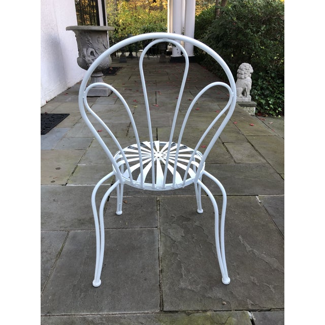 1930s Vintage Francois Carre White Sunburst Iron Garden Chair For Sale - Image 11 of 12