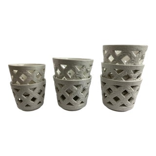 1950s White Flowerpots by Gunnar Nylund for Rorstrand - Set of 7 For Sale