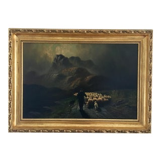 Original Signed Antique Oil Painting the Sheep Herder For Sale
