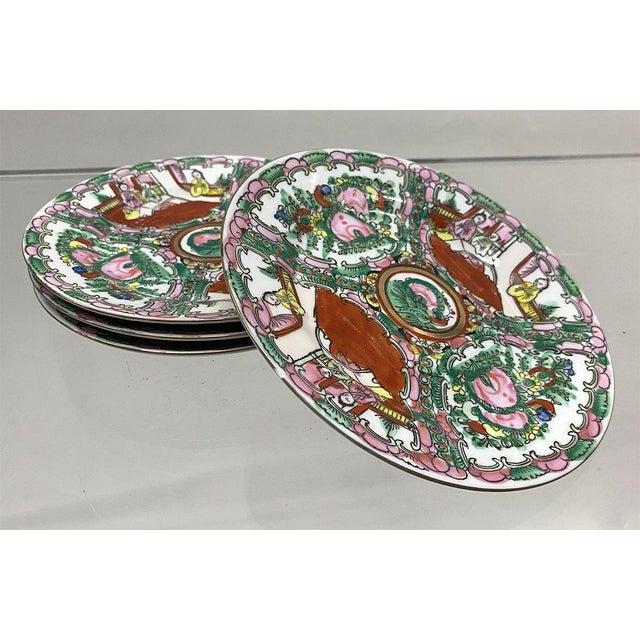 Vintage Small Rose Medallion Decorative Plates Set of 4 For Sale - Image 11 of 12