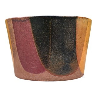 1960s Mid Century Modern Architectural Pottery Pro Artisan David Cressey Flame Glaze Planter For Sale