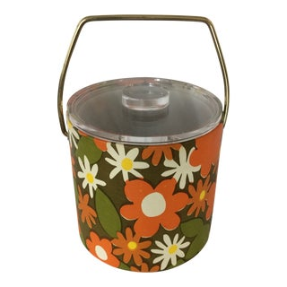 1970's Pop Art Vinyl Floral Design Ice Bucket With Lucite Lid and Tongs For Sale