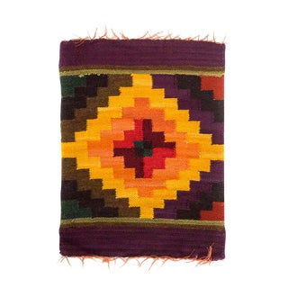 Peruvian Chakana in Gold, Plum, and Olive Wall Hanging / Placemat For Sale