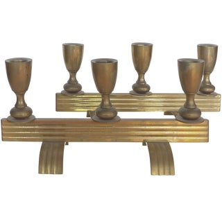 Art Deco Bronze Streamline Candle Holders, a Pair For Sale