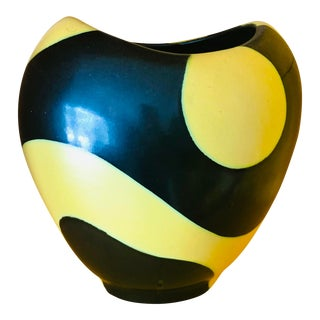 1951 Space Age Modern Yellow Black Van Daalen Vase For Sale