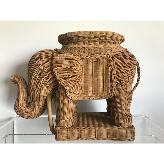 1980s Boho Chic Woven Rattan Elephant Side Table For Sale In Atlanta - Image 6 of 6