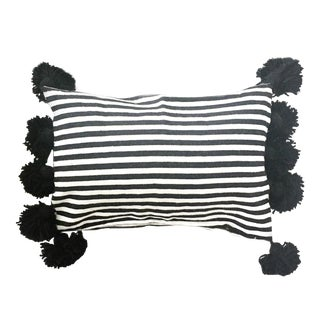 Black & White Striped Lumbar Pillow Cover For Sale