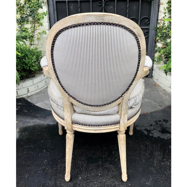 Pair of Louis XV Style Balloon Back Arm Chairs W Silk Down Cushions For Sale - Image 4 of 6